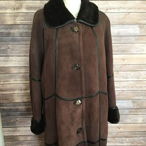 Genuine Leather Long brown winter coat XL